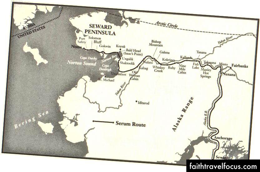 Năm 1925, một nhóm các nhà chó đi 674 dặm từ Nome (ở phía tây) để Nenana (ở phía đông) để lấy một gói thuốc đó sẽ kết thúc staving tắt một dịch bạch hầu.