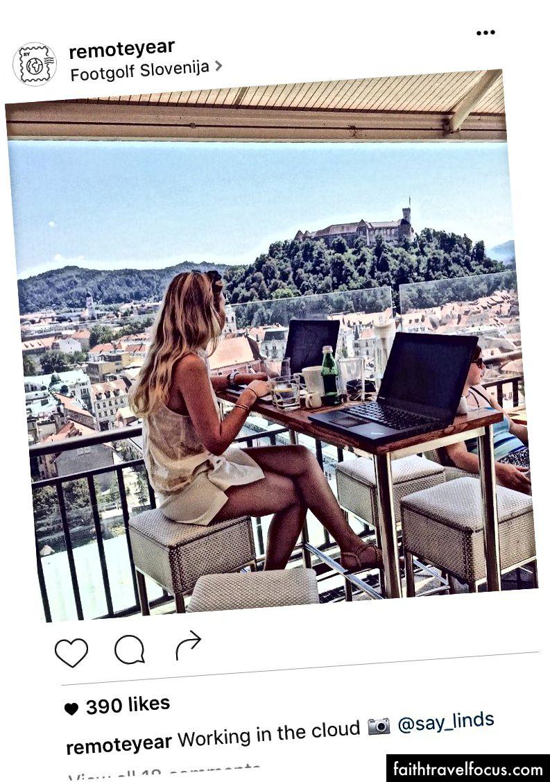 Một bức ảnh Instagram được chuyển thành quảng cáo trên mạng xã hội Remote YearTHER