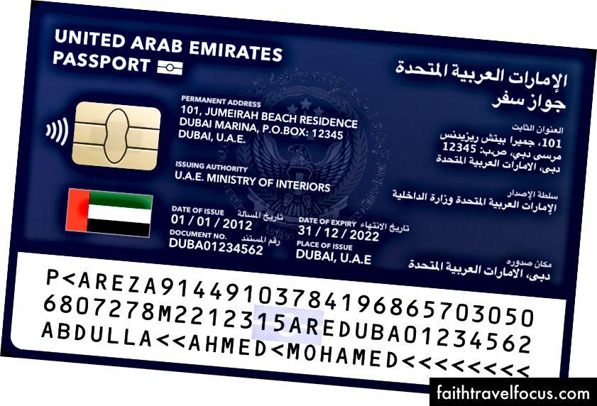 Khái niệm Thẻ Hộ chiếu cho Ấn Độ (đen, trên cùng), Pháp (đỏ, trái), Hàn Quốc (xanh lá cây, giữa) và Các Tiểu vương quốc Ả Rập Thống nhất (xanh dương, phải).