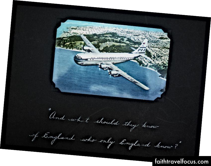 Trang mở đầu của album ảnh gia đình Anthony Thái Lan, năm 1955. Trích dẫn từ Rudyard Kipling, là một chuyến đi du lịch quốc tế với mục đích tìm hiểu đất nước của bạn - và chính bạn. (Ảnh © 2015, Ted Anthony)