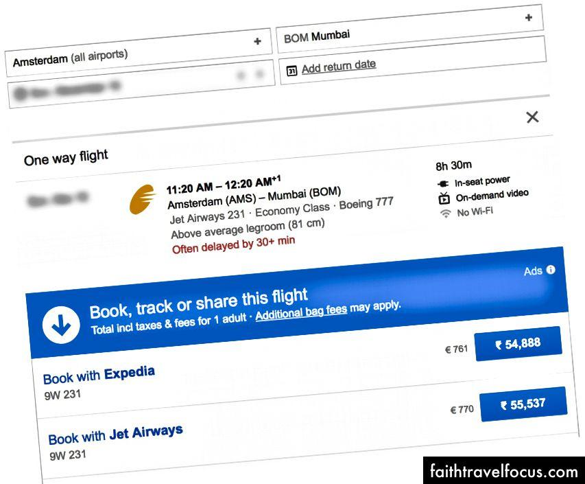 Amsterdam đến Mumbai là vé đắt nhất.
