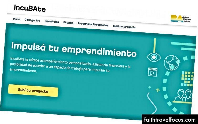 Ảnh chụp màn hình của trang web Incubate