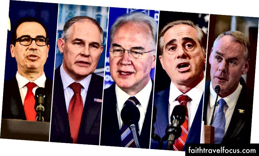 Từ trái qua: Mnuchin, Pruitt, Price, Shulkin và Zinke, tạo thành một nhóm thợ cắt tóc, đi khắp thế giới.