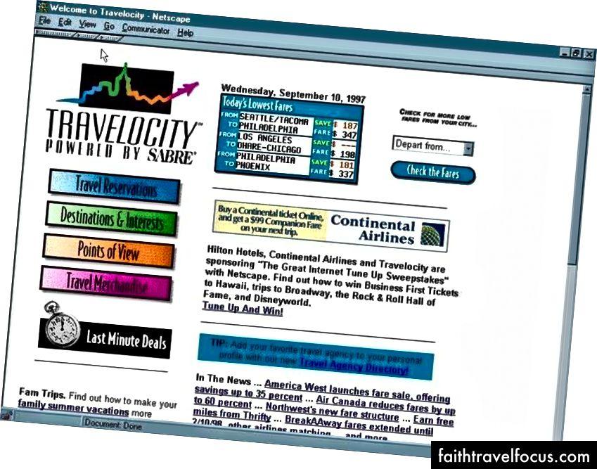 Travelocity.com khoảng năm 1996