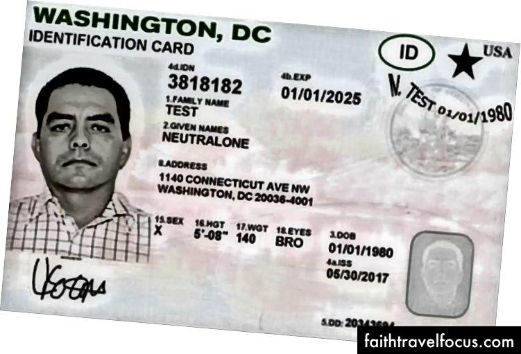 Зразок посвідчення Вашингтона, округ Колумбія, з гендерним маркером. Кредит зображення: Департамент транспорту DC