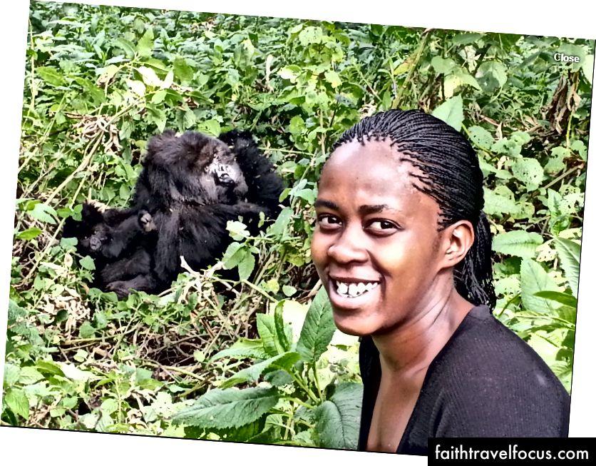 Моя двоюрідна сестра, позуючи поруч (1 метр) горили та двох її немовлят.