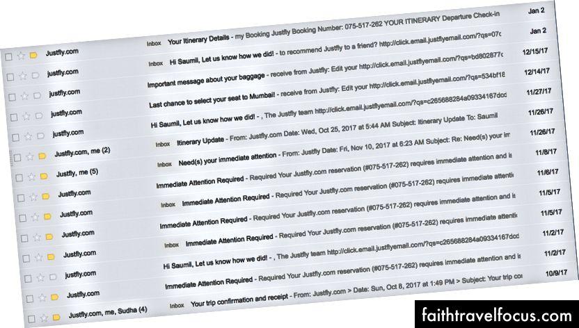 Lịch sử email đầy đủ từ JustFly - dòng chủ đề la hét vạch ra việc hủy chuyến bay ở đâu?!