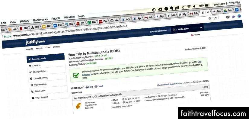 Đặt trang đích trên JustFly.com, vài tuần sau khi họ hủy vé của tôi và vài giờ sau khi họ nói với tôi trên điện thoại rằng họ đã làm như vậy. Lưu ý 01/03/18 tem thời gian trên Mac.