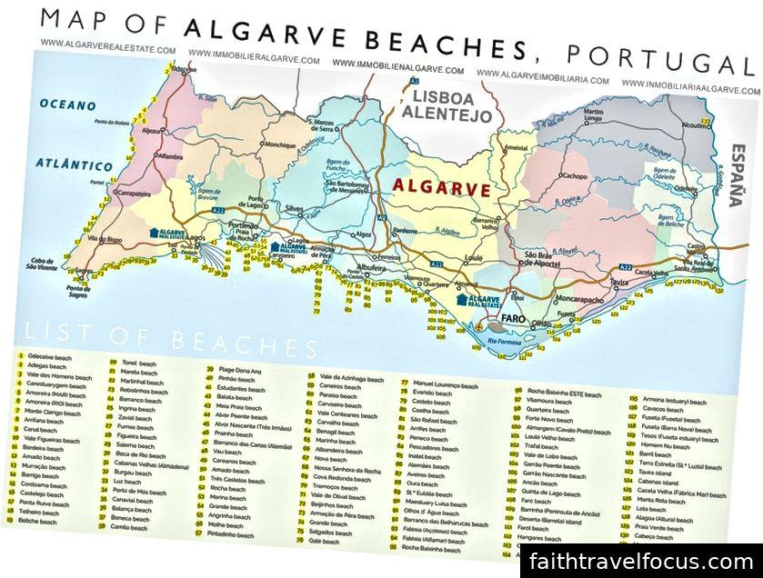 Уздовж південного узбережжя Португалії є 133 пляжі.