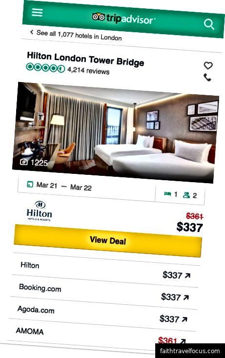 TripAdvisor, otel web sitesi dahil, tüm büyük platformlarda 337 $ gösteriyor