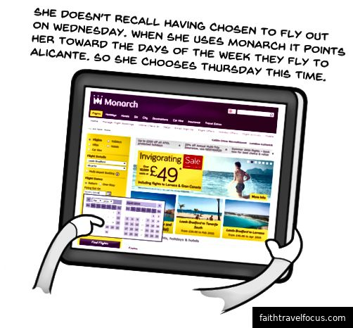 Веб-сайт авіакомпанії вказує дати, на які вони літають, коли вона вибирає дати. Цього разу вона обирає четвер.