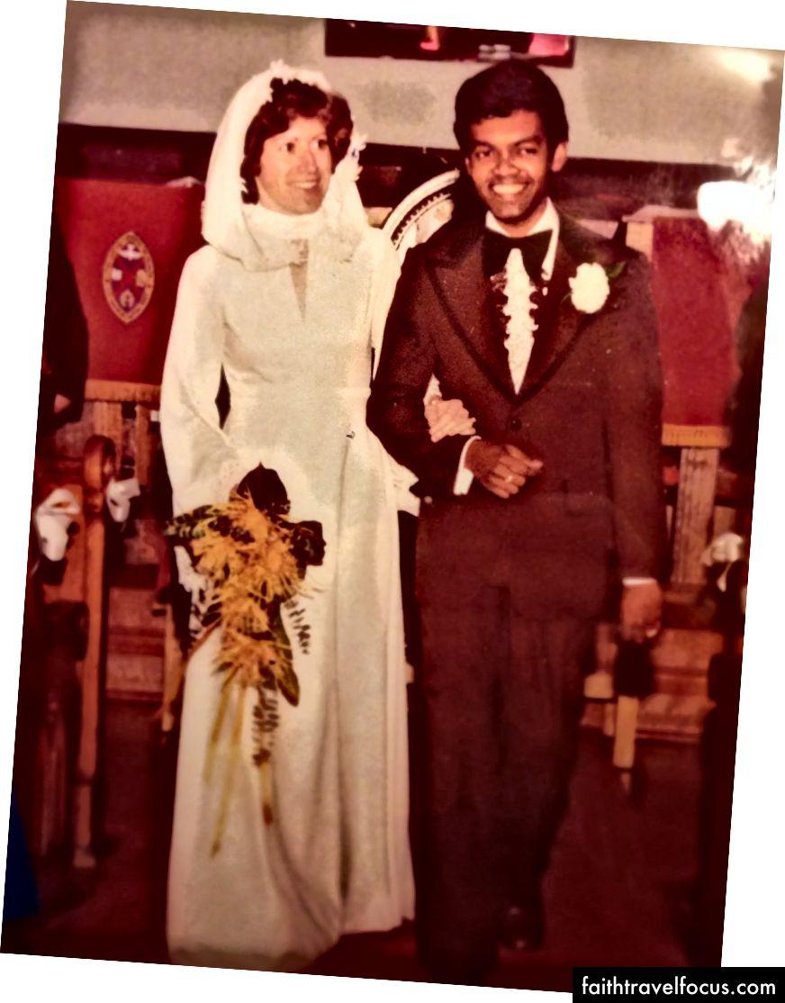 Meine Mama und Papa suchen fliegen an ihrem Hochzeitstag.