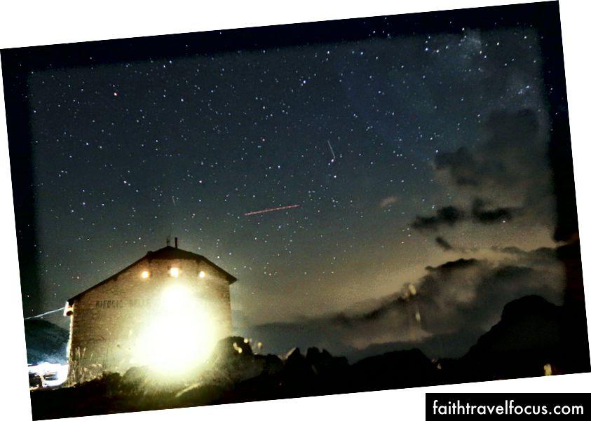 Rifugio Biella om natten
