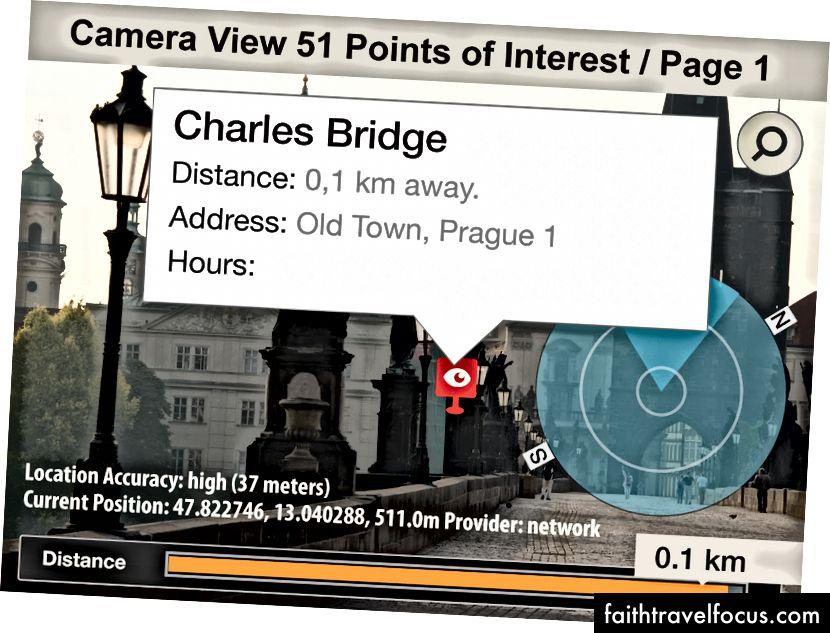 Ứng dụng Lonely Planet từ la bàn xếp lớp nội dung đích lên màn hình camera