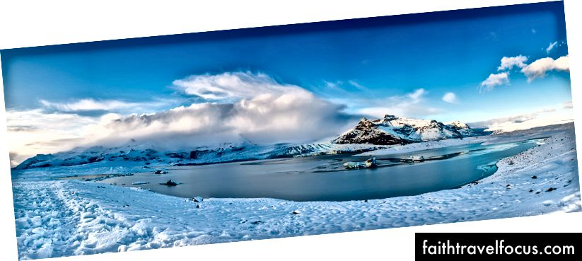 Панорамний вид на лагуну льодовика на заході сонця, Джокульсарлон