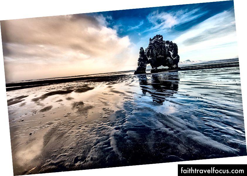 Хвіцеркур (скеля динозавра) на заході сонця, півострів Ватнснес