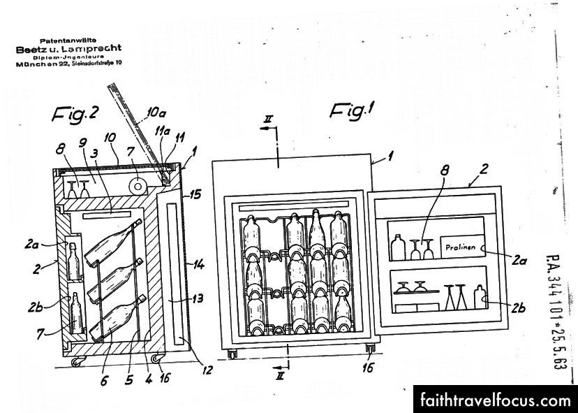 Orijinal soğutulmuş minibar için Alman patentiyle birlikte verilen çizim.
