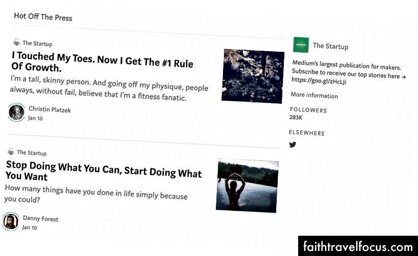 Перша титульна сторінка The Startup
