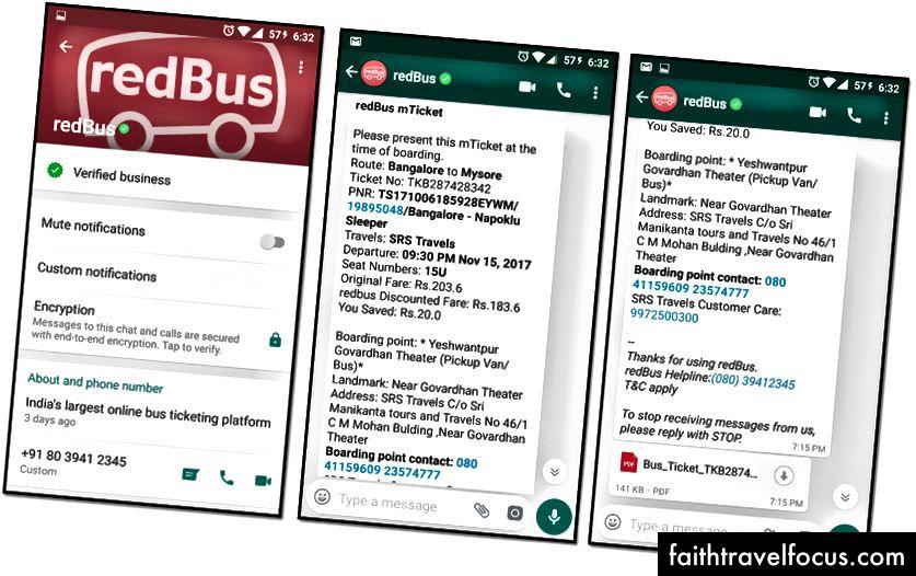 WhatsApp'ta Gönderilen Örnek Rezervasyon Bilet Mesajı