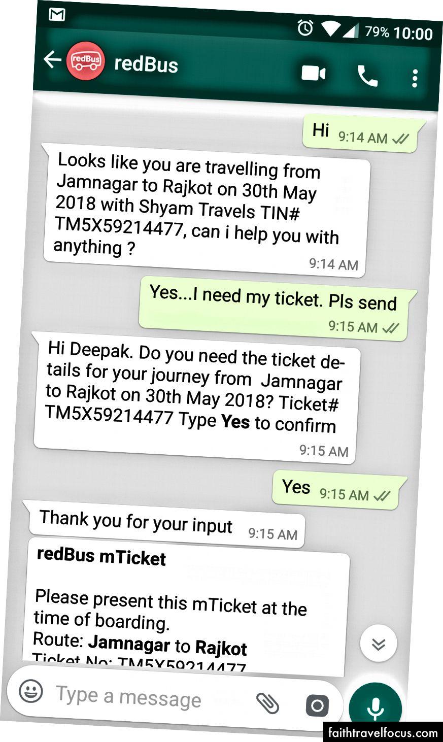 WhatsApp Bot Kullanıcının Bilet Ayrıntıları Sorgusuna Yanıt Verme