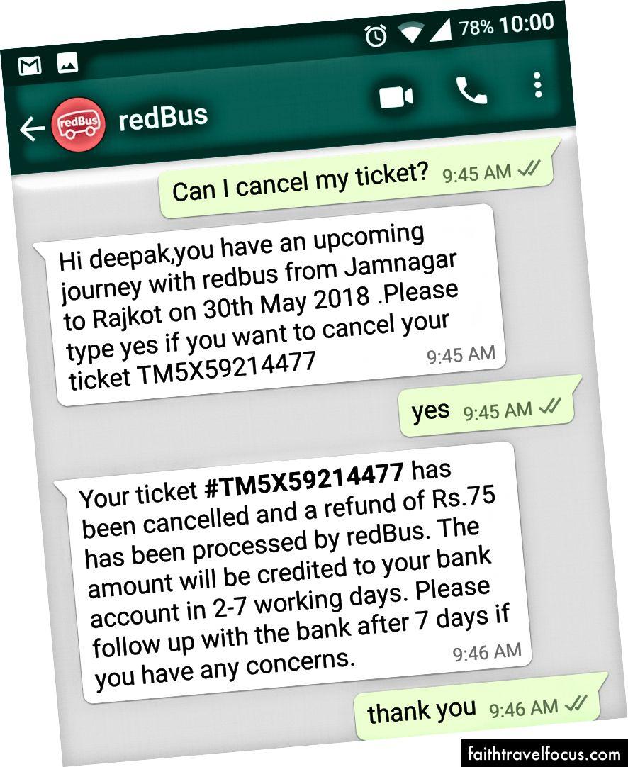 WhatsApp Bot Kullanıcının Bilet İptal İsteğini Cevaplama