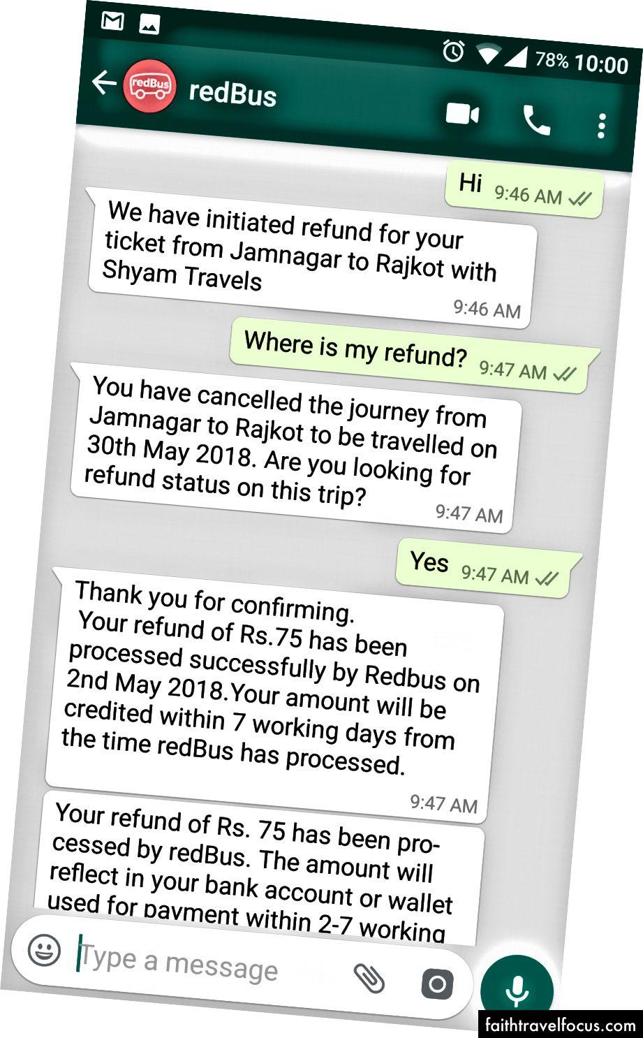 WhatsApp Bot Kullanıcının Geri Ödeme Durumu Sorgusuna Yanıt Verme