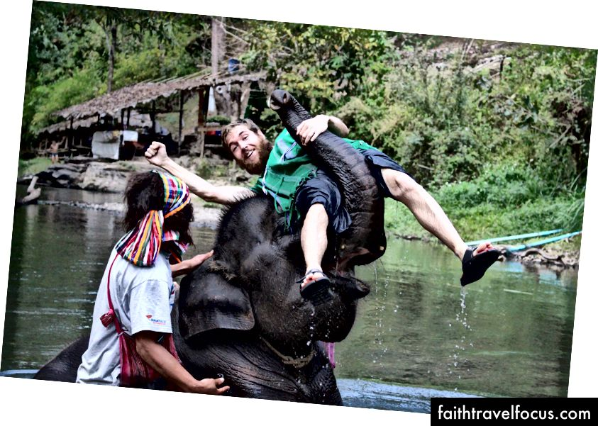 Tayland'da fillerle birlikte etrafta yıkanmak, beslenmek ve su dökmek. Onlara gerçekten önem veren bir STK'yı desteklemek için ekstra para ödedik.