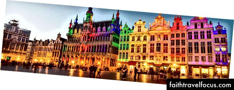 Grote Markt, hay quảng trường trung tâm của Brussels, tất cả được bày ra trong màu sắc của cầu vồng