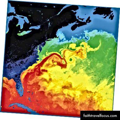 Nhiệt độ nước mặt vịnh Stream. NASA
