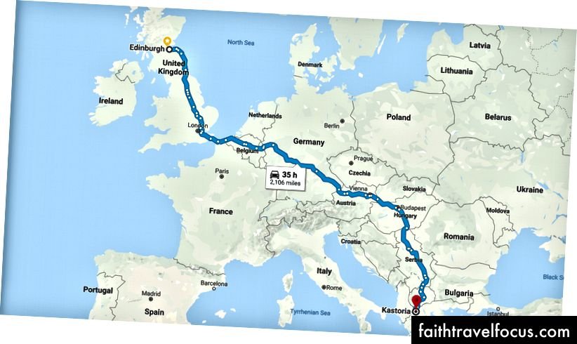 Otostop yapan rota planımız. Google Haritalar'dan alınan resim.