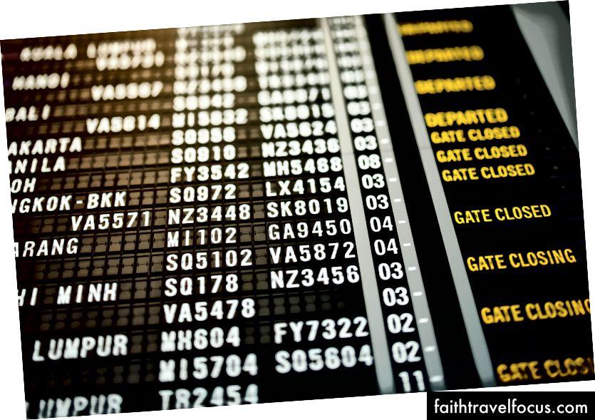 Bảng thông tin tại sân bay với văn bản và