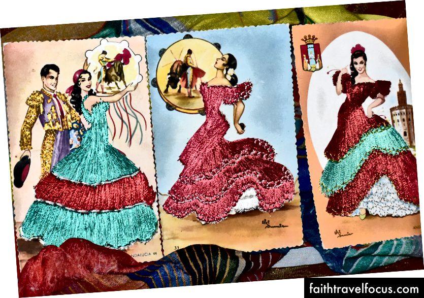 ~ bưu thiếp khâu cổ điển từ Espana ~ được mua bởi cha mẹ tôi trong chuyến du lịch của họ - bjf © ~