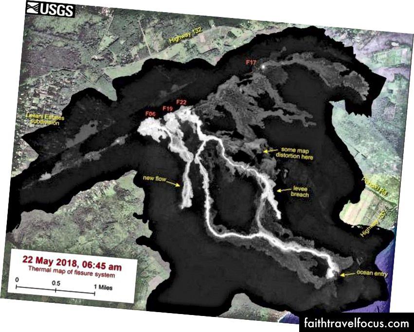 Ця теплова карта показує систему тріщин і лаву тече станом на 06:45 ранку у вівторок, 22 травня. Основний потік лави походить від Фіссури 22, але останній день був активний протягом останньої доби з області Фіссури 6. (USGS / HVO / Digital Globe)
