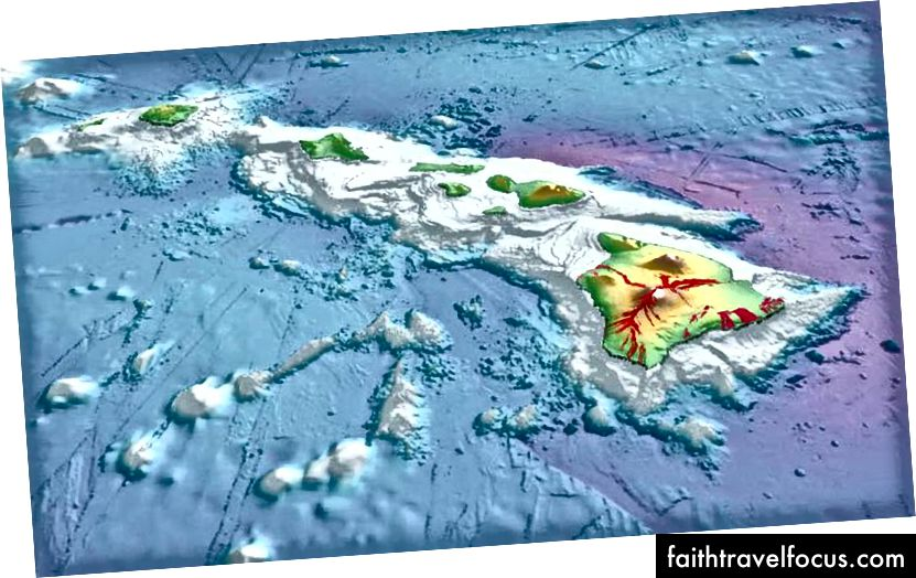 Một bản đồ 3D của hòn đảo Hawaii cho thấy kích thước đáng kinh ngạc của mạng dưới nước của núi, mà kéo dài xuống đáy đại dương ba dặm dưới mực nước biển. (Loạt bài điều tra địa chất USGS)