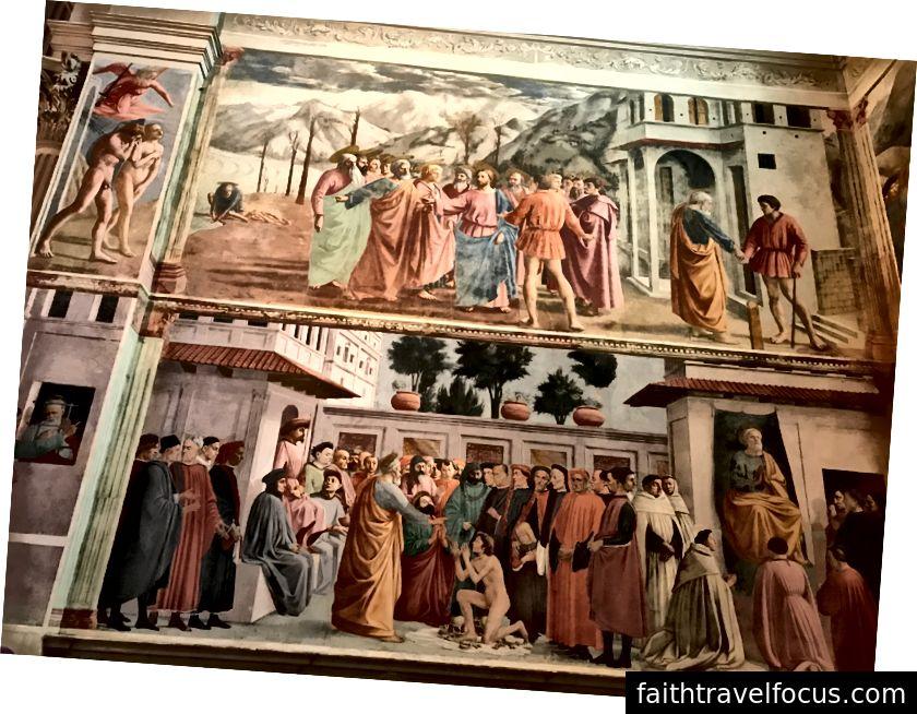 Tập trung vào nửa trên của hình ảnh này. Ở phía xa bên trái là Masaccio hâm mộ Đột Kích từ Vườn Địa đàng, một trong những bức tranh nổi tiếng nhất của Masaccio. Tại sao nó lại quan trọng? Nó cho thấy những hình người không lý tưởng hóa thể hiện cảm xúc kinh hoàng. Tiền điện tử Tribute Money là bảng điều khiển chính. Những người yêu thích lịch sử nghệ thuật ghé thăm nhà nguyện đặc biệt để xem những tác phẩm này. | Ảnh: K. Yung