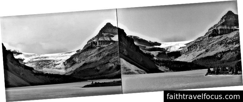 The Glacier Bow năm 1902 (trái) và 2002 (phải). Hình ảnh của gia đình Vaux.