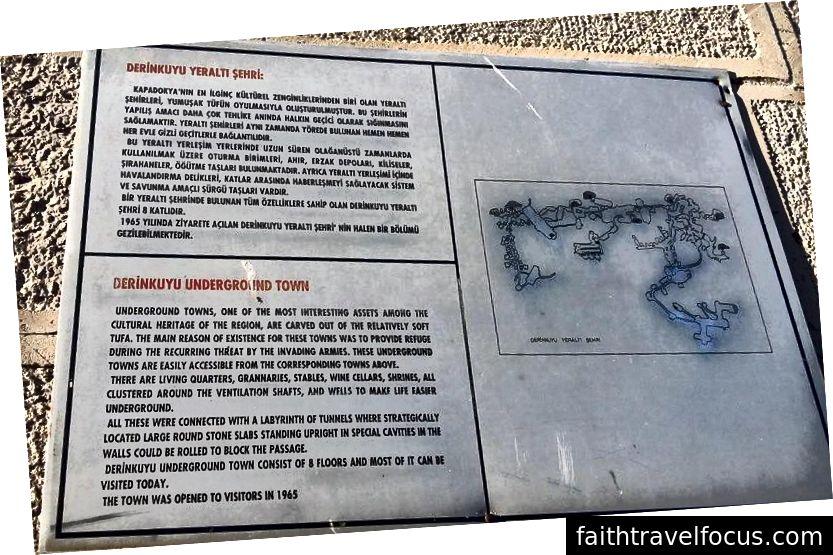Thành phố ngầm Derinkuyu (hoặc thị trấn) Mảng thông tin