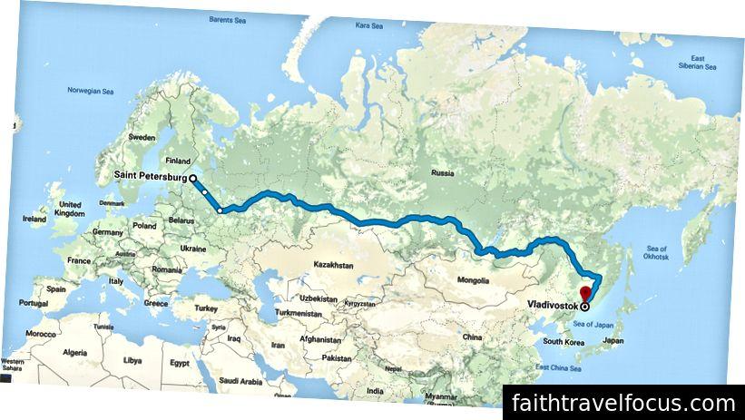 Lộ trình chuyến đi của tôi dọc theo Đường sắt xuyên Siberia, từ St Petersburg đến Vladivostok.