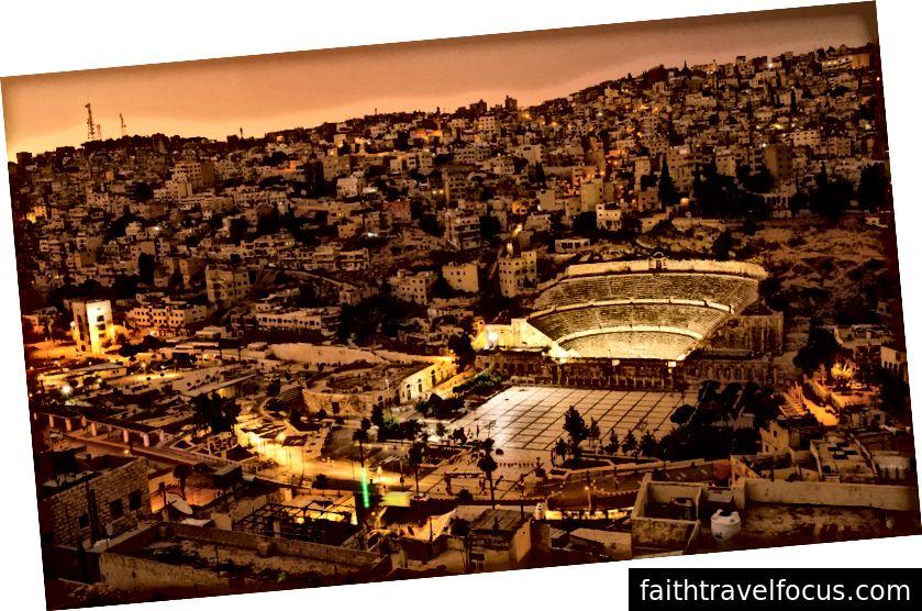 Amman ve Hashemite Plaza şehir merkezinin havadan görünümü.