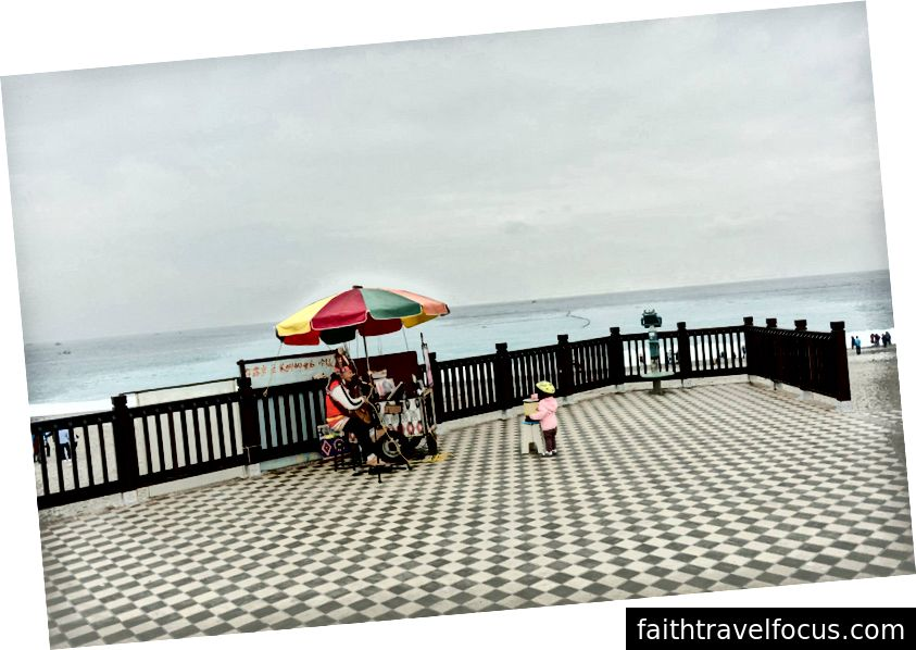 Chow nhỏ đưa cho một busker một sự đánh giá cao của cô ấy. Hoa Liên, Đài Loan.