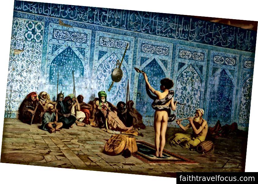 Hình ảnh từ Edward Said từ, chủ nghĩa phương Đông. Chú chó săn rắn rắn của nghệ sĩ người Pháp, Jean-Leon Gerome sản xuất vào khoảng năm 1879.