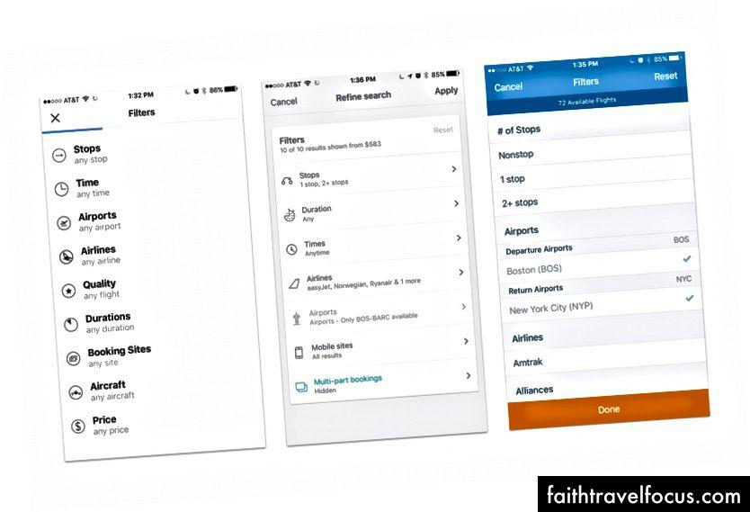 Các menu bộ lọc của các ứng dụng tìm kiếm chuyến bay khác nhau: kayak, SkyScanner và Hipmunk