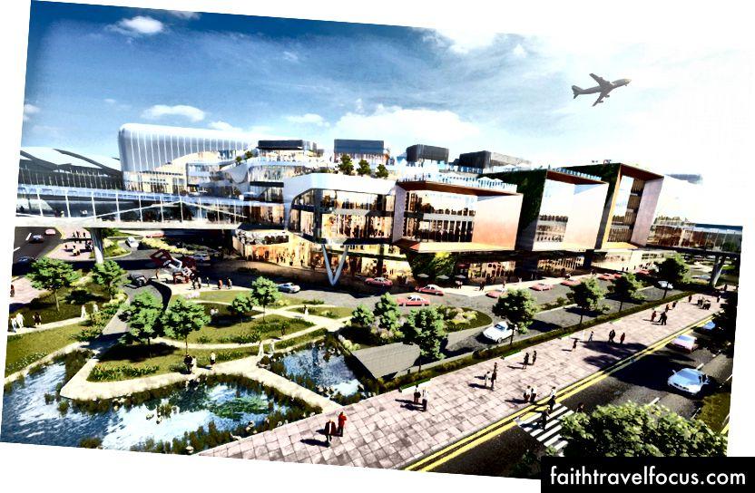 SKYCITY tương lai Khái niệm thiết kế phát triển Hồng Kông. Tín dụng: Cảng vụ hàng không Hồng Kông.