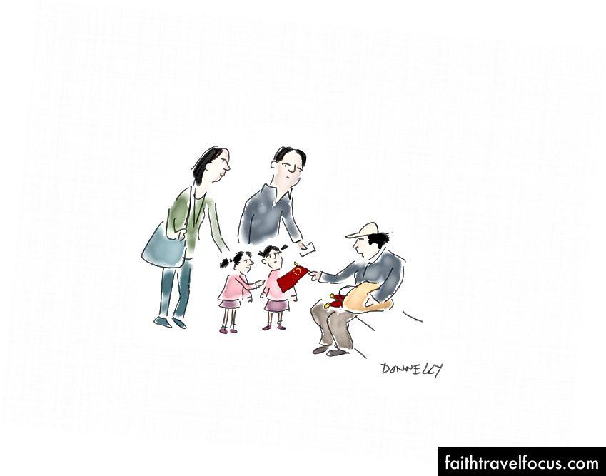 Hai người Bắc Kinh ăn mặc theo phong cách; một người phụ nữ bán cờ Trung Quốc cho trẻ em (hay đúng hơn là cho cha mẹ của họ) trên đường phố.