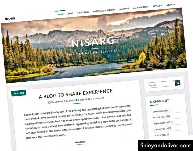 Smuk blogging WordPress skabelon