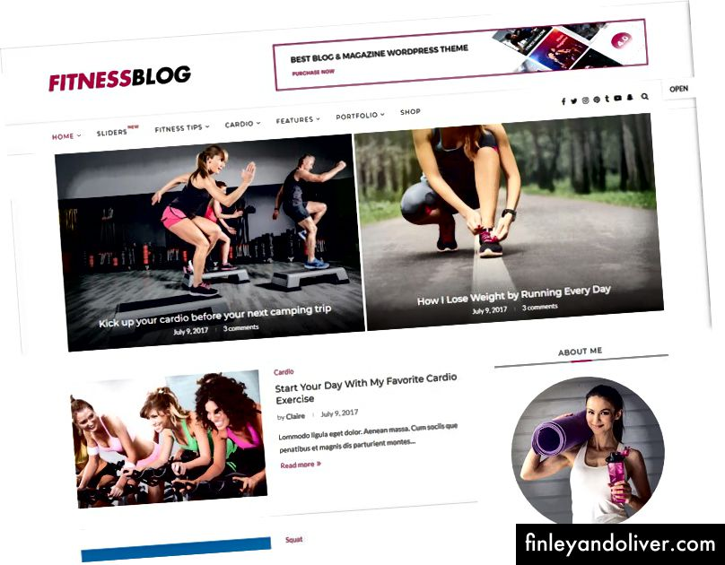 Fitness WordPress Blog Θέματα 2018