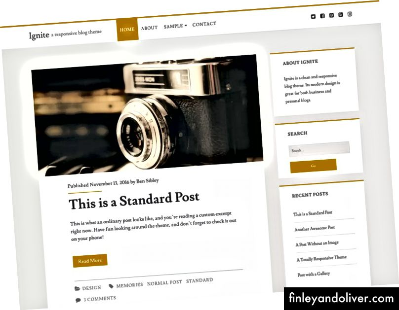 WordPress responsivt blog-tema