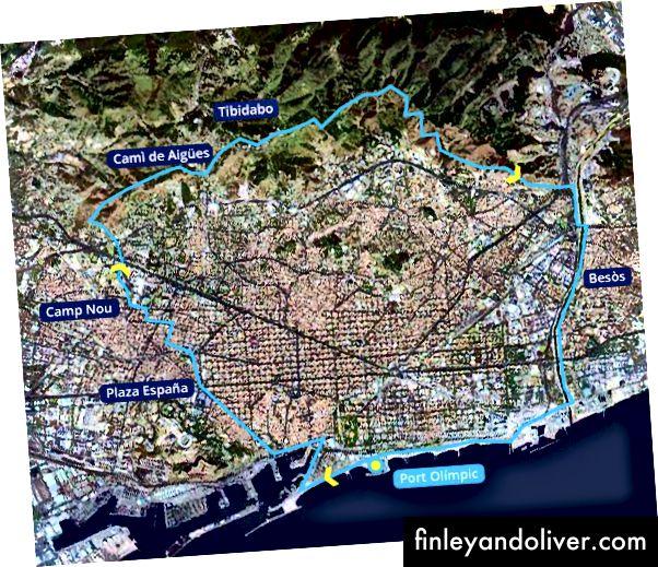 Een mogelijke fietsroute die rond Barcelona