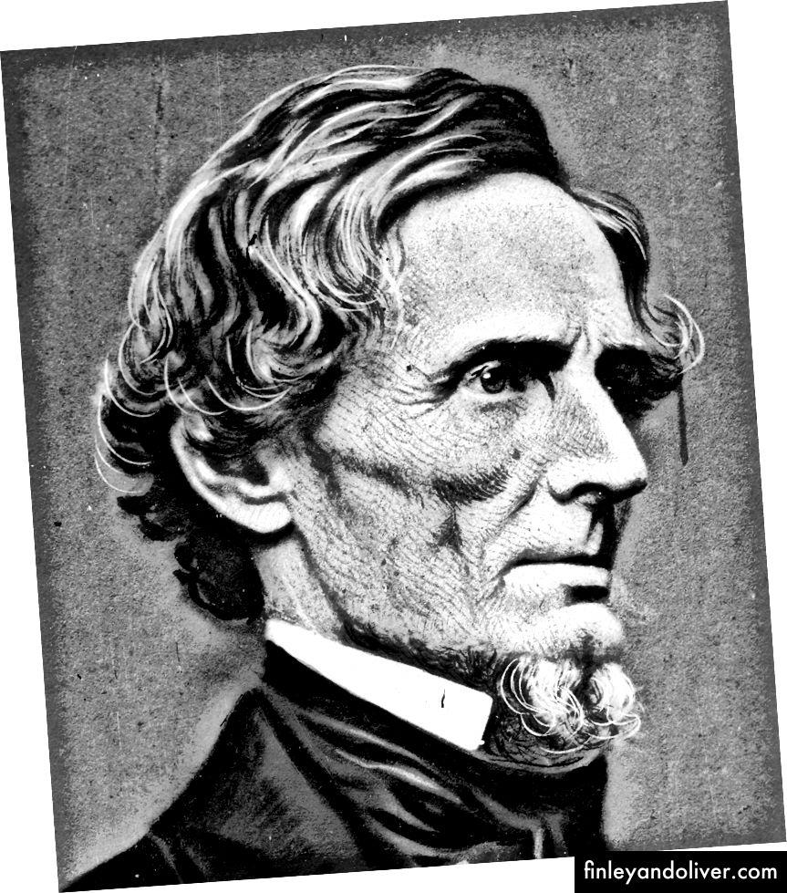 De geconfedereerde president Jefferson Davis werd uiteindelijk aangeklaagd wegens verraad, wat een van de redenen kan zijn dat Mr. Trump het racistische record van de zuiderling wil verbranden. (Credit: msnbc.com en neh.gov)