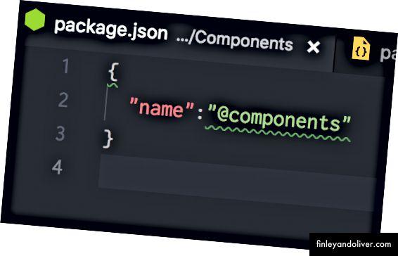 package.json для папки компонентів